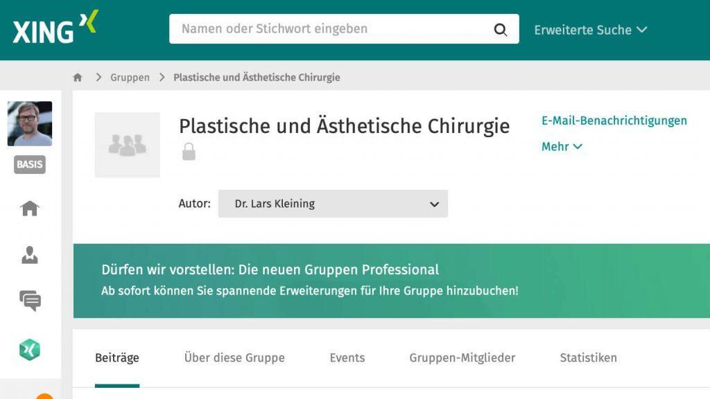 dashboard Xing Gruppe Plastische und Ästhetische Chirurgie